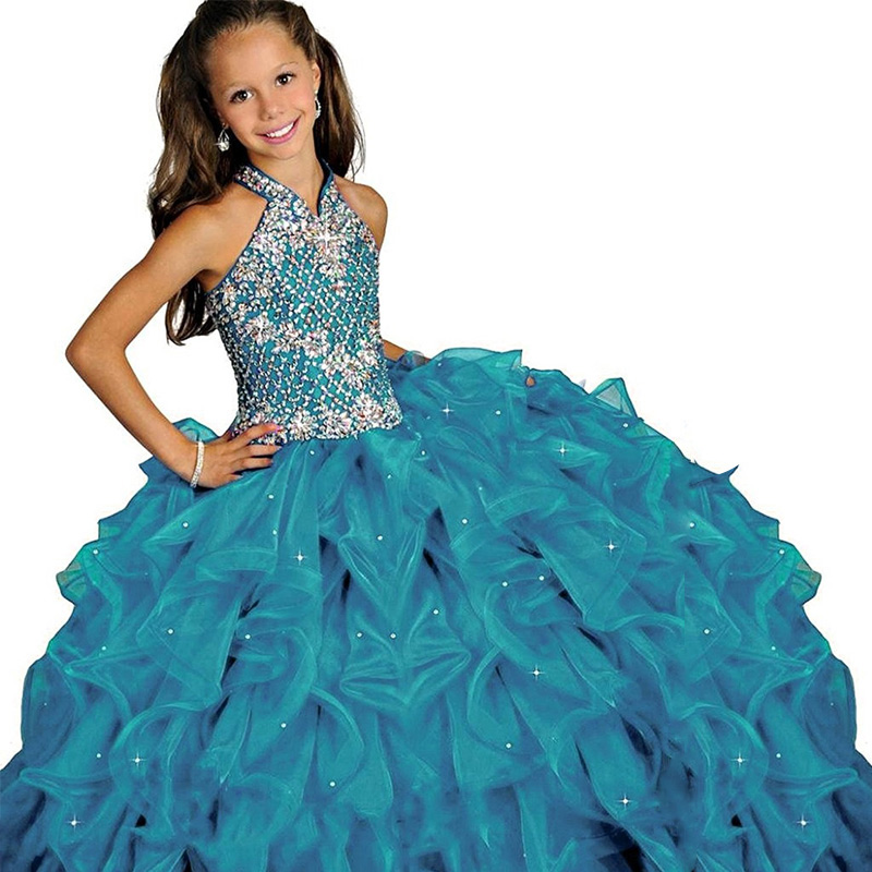 halter fancy little girls pageant dress long ball gowns for kids long prom dress vestido menina princess girls dress 2-12 years knotted plunge long prom dress with slit