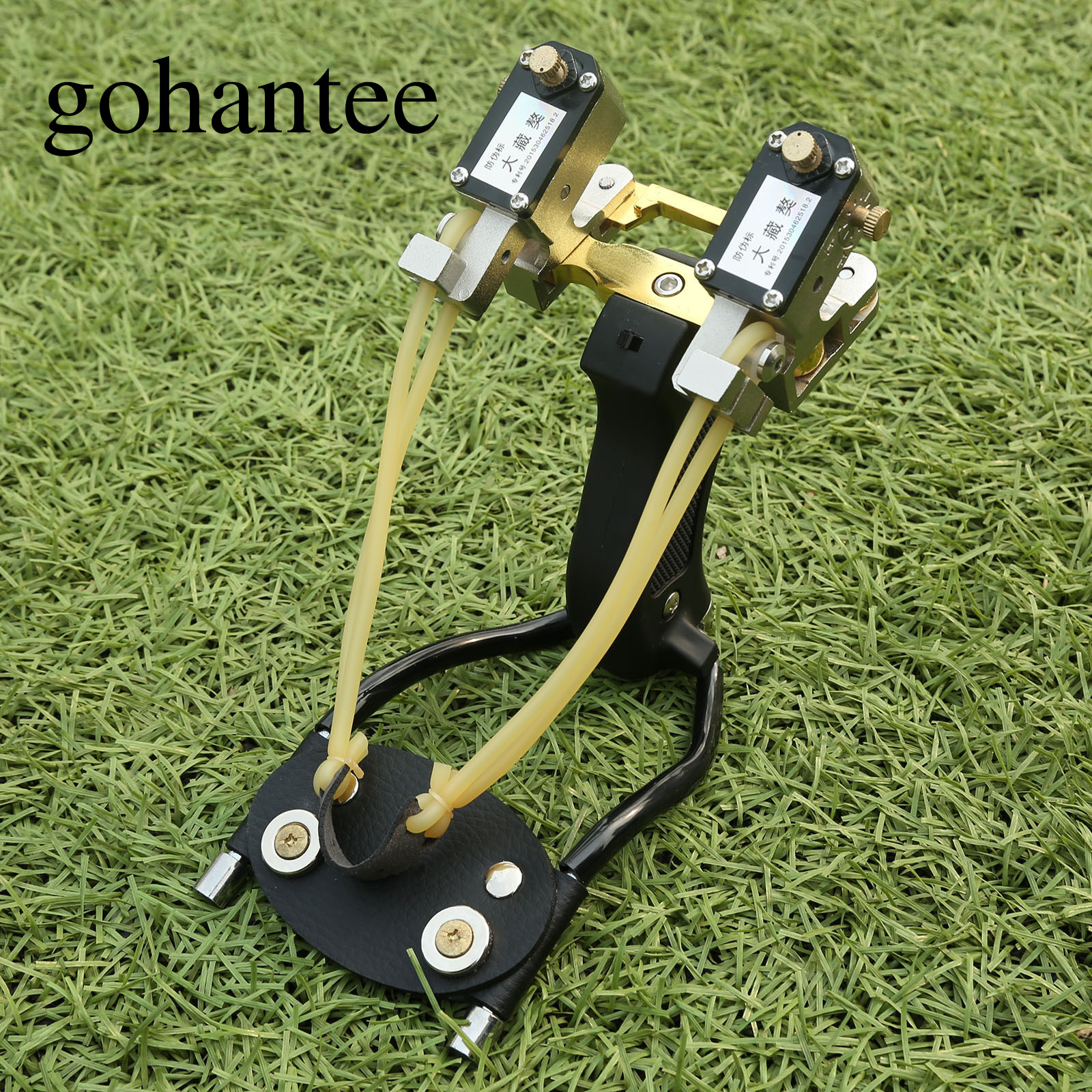 gohantee Strong Powerful Hunting Slingshots with Laser Large Folding Wrist Brace Catapult +Rubber Band Outdoor Shooting /Fishing