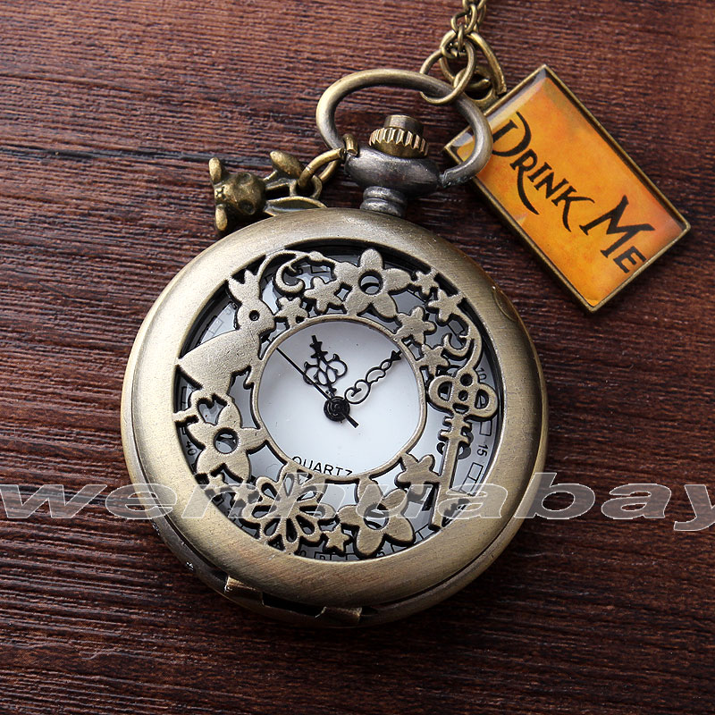New Arrival Bronze Rabbit Key Flower Hollow Case Drink Me Alice In Wonderland Pocket Watch Necklace Lady Women DRINK101