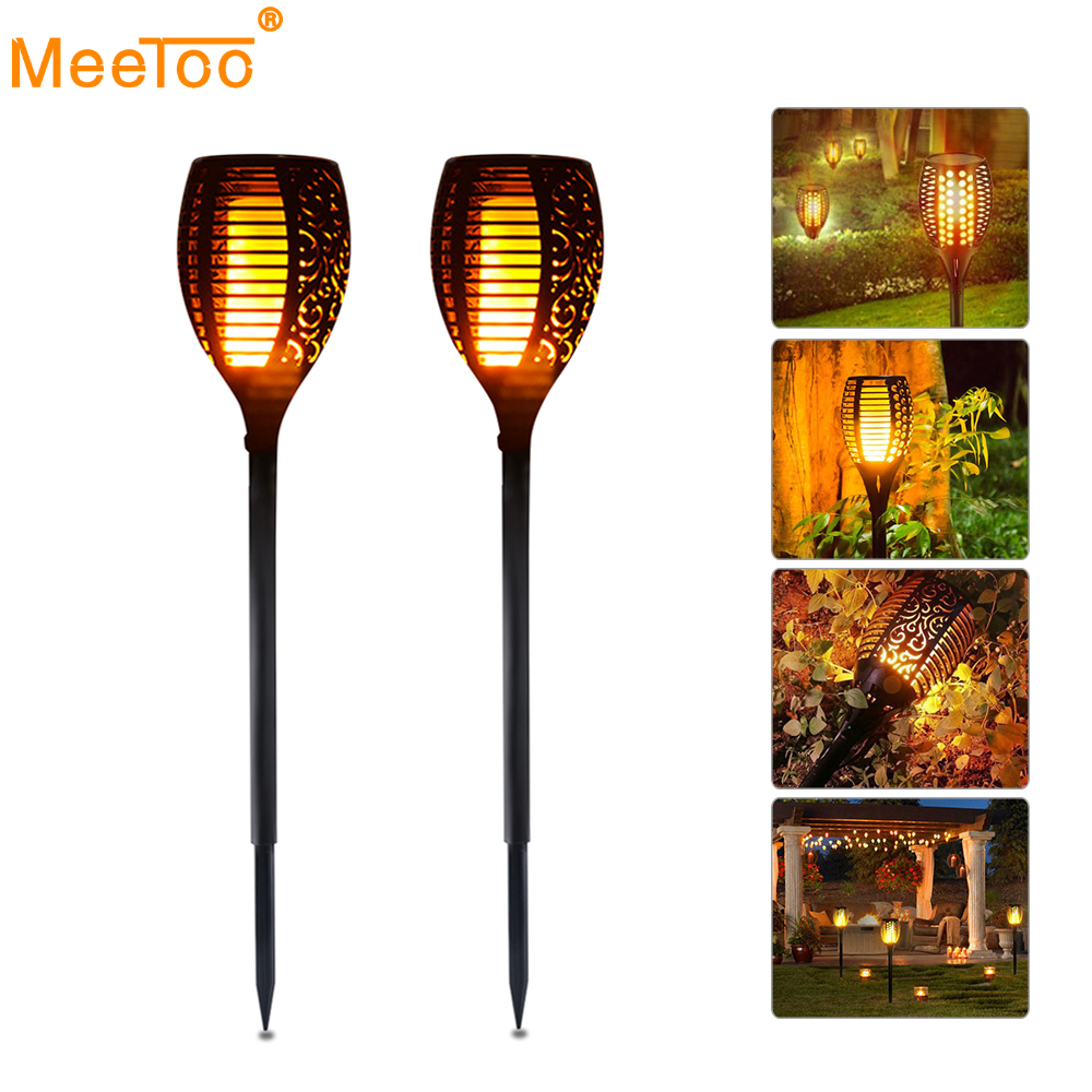 Led Solar Light Dancing Flame Flickering Outdoor Torch Lights Lantern Waterproof Garden Patio Yard Path Street Decor Lamp