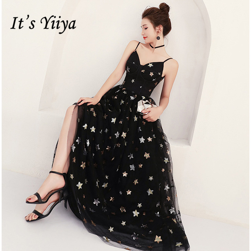 It's Yiiya Formal   Evening     Dresses   Black Stars Prints V-Neck Spaghetti Strap Floor Length   Evening     Dress   Party Gown LX942