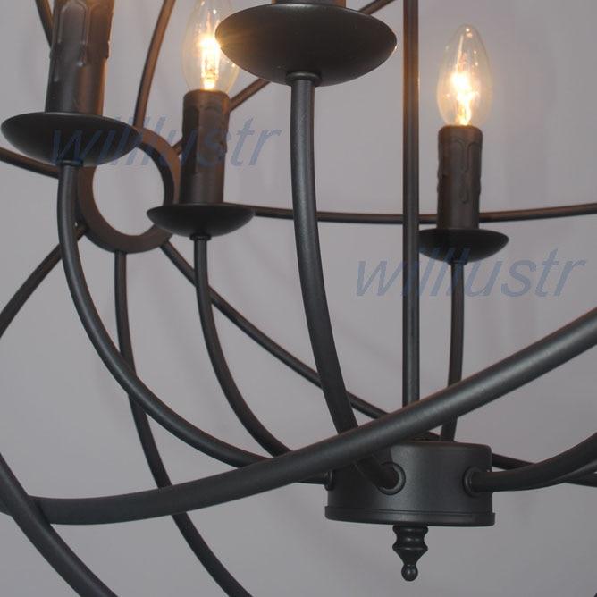 Vintage Pendant Lamp FOUCAULT'S ORB CHANDELIER RUSTIC IRON Loft industry country gyro diameter 50cm 65cm 80cm suspension light - 4