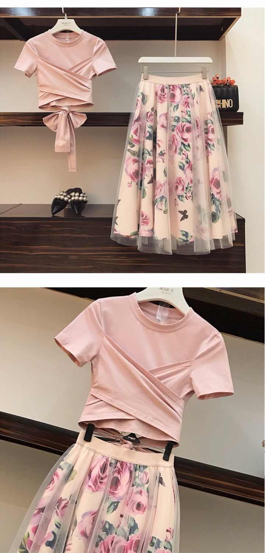 224ad00a5 Amolapha mujeres Irregular T camisa + malla de faldas trajes Bowknot Solid  Tops Vintage Floral conjuntos de falda para mujer elegante