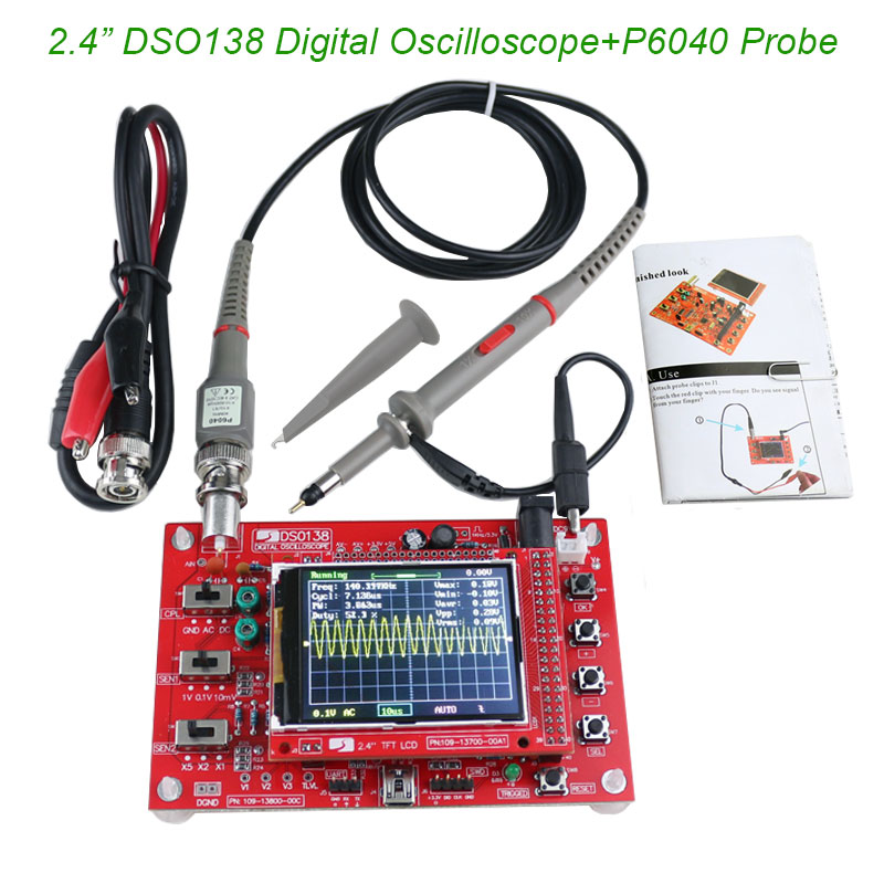 2.4 TFT Digital Oscilloscope 1Msps Kit Parts for Oscilloscope Making Electronic diagnostic-tool Learning Set DSO138+P6040 Probe