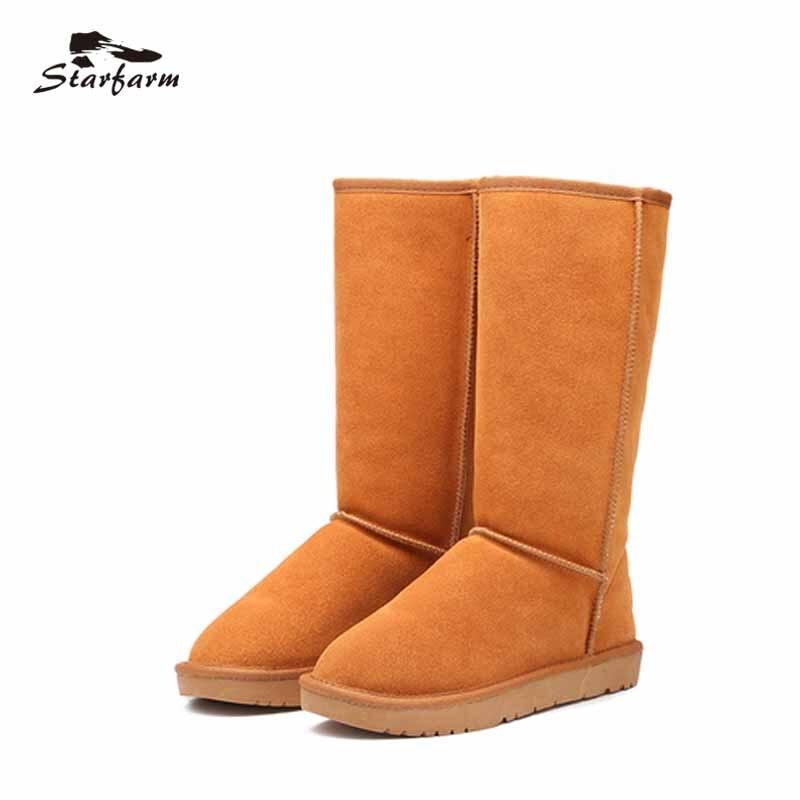 STARFART Men Boots Winter Snow Boots Slip On Shoes Man Leather Cow Suede Australian Boots Unisex