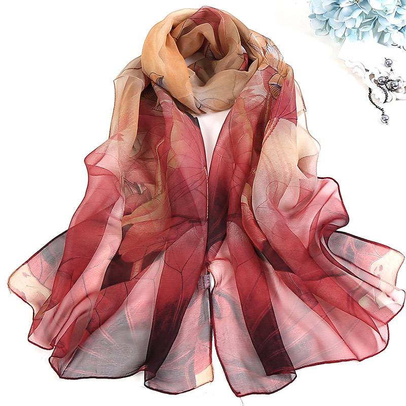 New Fashion Women Foulard Chiffon Georgette Silk   Scarf   Lotus Leaf Rose Flower Print Sunscreen Bandana Long Shawl   Wrap   HY139
