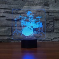 Drum Set 3D LED Lamp Rock And Roll 3D Night Light 7 Color Changing Touch Table