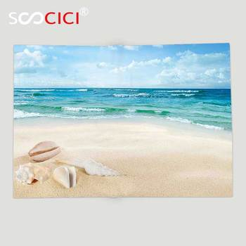 Custom Soft Fleece Throw Blanket Ocean Decor Beach Sand Waves Sealife Marine Decor with Shels Hot Summer Sun Print Teal Blue