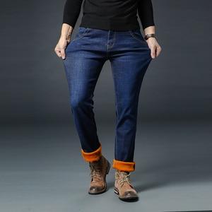 Image 5 - Vaqueros de invierno para hombre, pantalones vaqueros gruesos elásticos informales de negocios, ajustados, color negro, azul, de talla grande 28 40