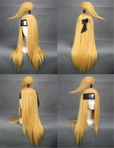 "Image 4 - נארוטו Deidara 60 ס""מ ארוך ישר זהב צהוב עמיד בחום Cosplay תלבושות פאה"