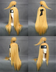 Image 4 - NARUTO Deidara 60cm Long Straight Golden Yellow Heat Resistant Cosplay Costume Wig
