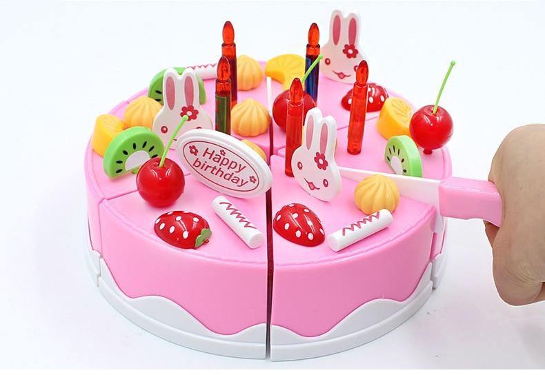 Safe ABS 38 pcs Set Plastic Kitchen Food Fruit birthday cake Cutting Kids Pretend Play Educational