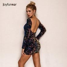 814e4827723 Joyfunear сексуальное платье с открытой спиной и пайетками женское  элегантное цветочное клетчатое облегающее платье осень-вечерн.