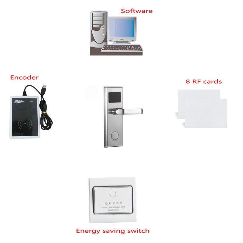 Système de serrure numérique de porte de carte d'hôtel de carte de RFID (serrure de 1 pc et encodeur de 1 pc et cartes de 8 pièces et commutateur de 1 pc)