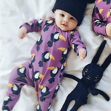 TinyPeople Baby Rompers Overall Toucan Print Cotton Newborn Boys Romper Girls Clothes Infant Baby Clothing Long Sleeve Jumpsuit стоимость