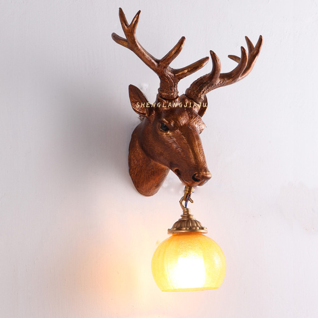 Antlers Personality Retro Wall Lights Ngau Tau Deer Cafe Room Aisle Lamp  Head Animal Head Decoration