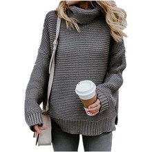 2019 Warm Sweater Coarse Pullover Women's Jumper Turtleneck Sweater Female Jumper Thick Winter Cable Knitted Oversized Sweater turtleneck ribbed jumper sweater