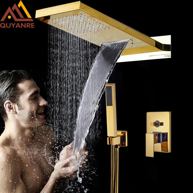 Luxury Golden In Wall Mounted Shower Faucets Set Rainfall Waterfall Shower Head 3 Ways Mixer Tap ABS Handshower Bath Shower