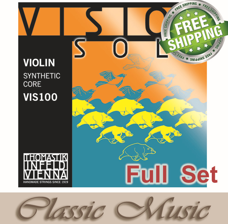 Cuerdas de violín Thomastik Vision Solo (VIS100)-Set de aluminio D, envío gratis! juego completo (G, D, A, E), 4/4 mediano. ¡HECHO EN AUSTRIA! 8 unids/pack mandolina cuerdas cadena conjunto E/D/G de acero inoxidable importado mercerizado cuerdas Accesorios para Instrumentos Musicales
