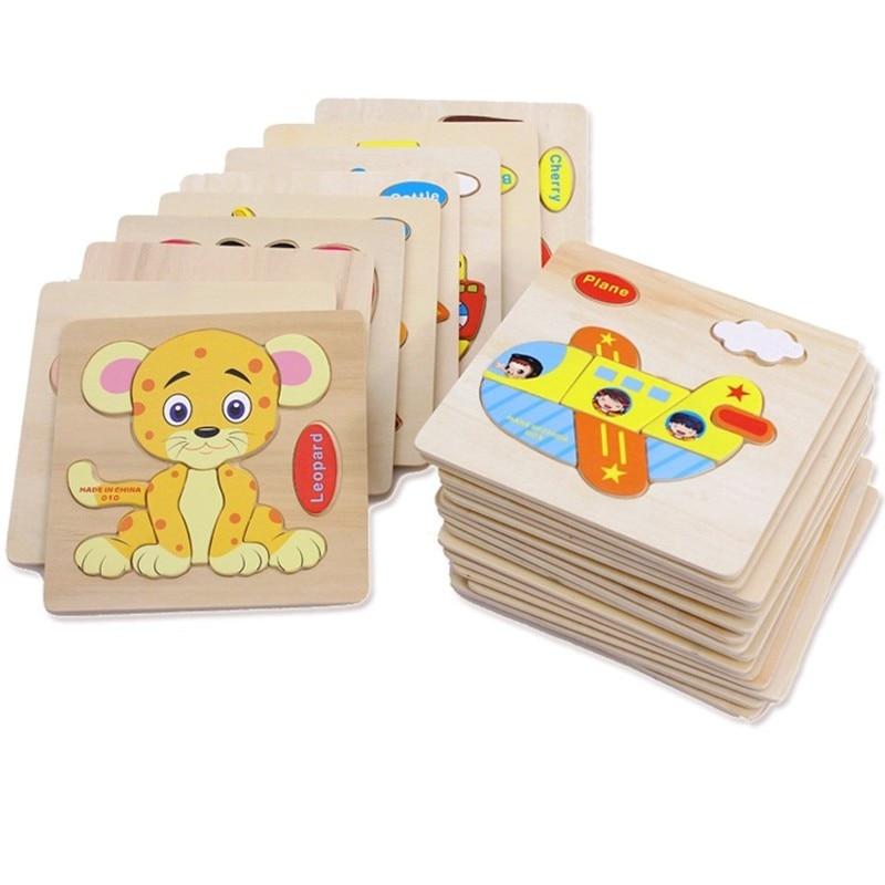 1Pcs Random Kids Cartoon Animal Design Wooden Puzzle Game Educational animal puzzle toys