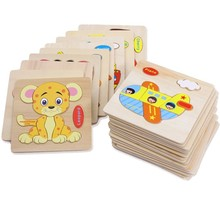 1Pcs Random Kids Cartoon Animal Design Wooden Puzzle Game Educational animal puzzle toys