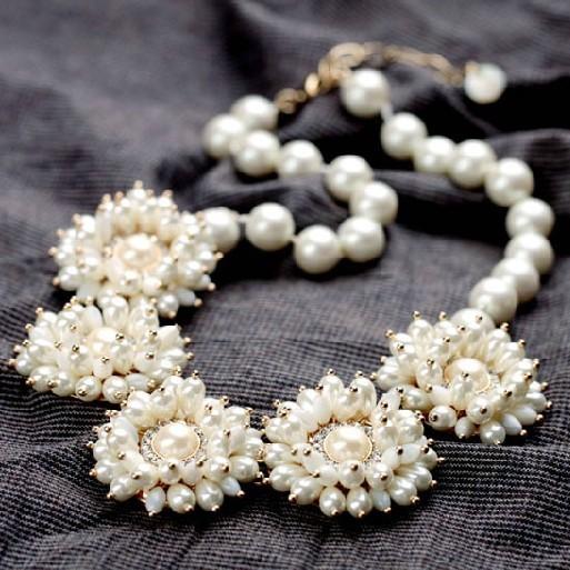 Flores Collar de Perlas Para Las Mujeres de moda de Lujo Chunky Joyería Declaración De Moda Joyería de Moda