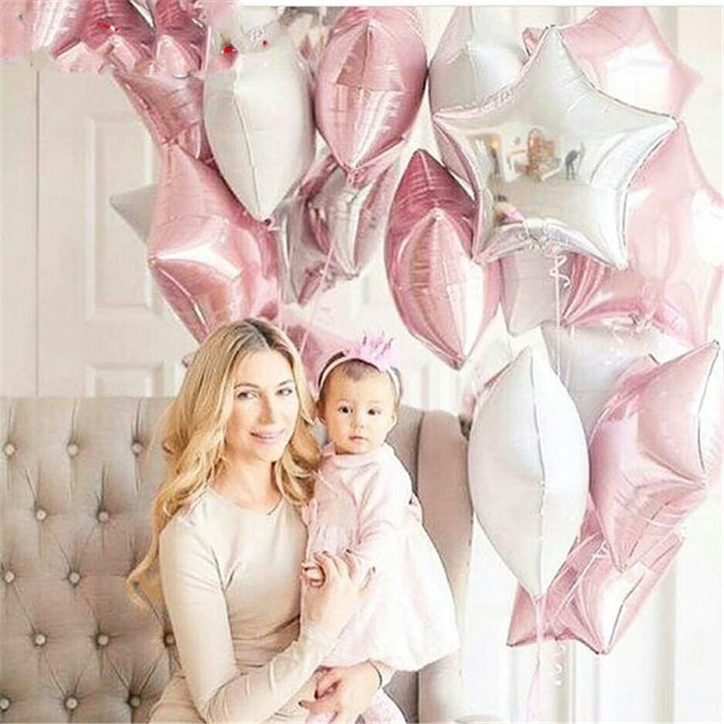 9pcs Baby Shower Globos 18 inch pink white sliver star helium foil Balloons Girls Birthday 1st Party Supplies Decor Pure color ...