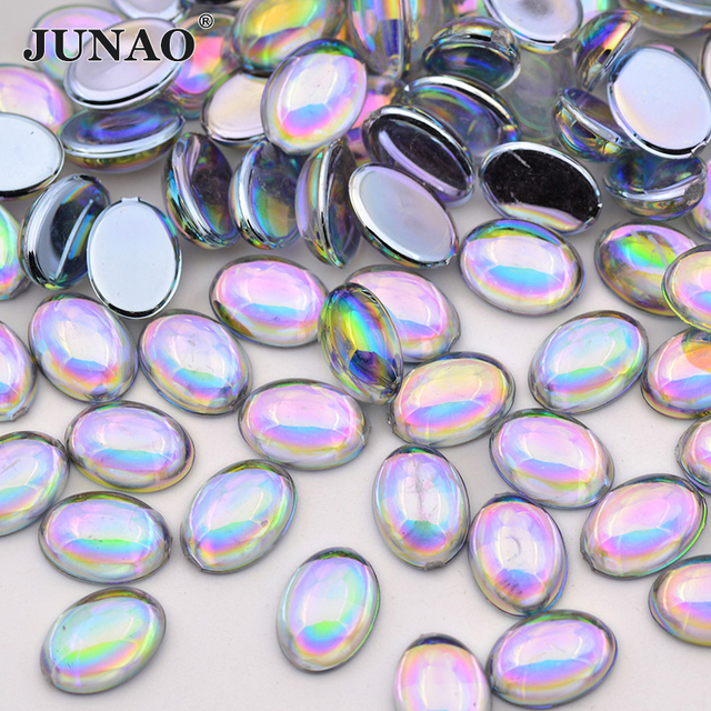 JUNAO 10 14mm Crystal AB Oval Rhinestones Flatback Crystals Stones Acrylic  Strass Applique Scrapbook Beads for Jewelry Crafts 1024b9a70f21