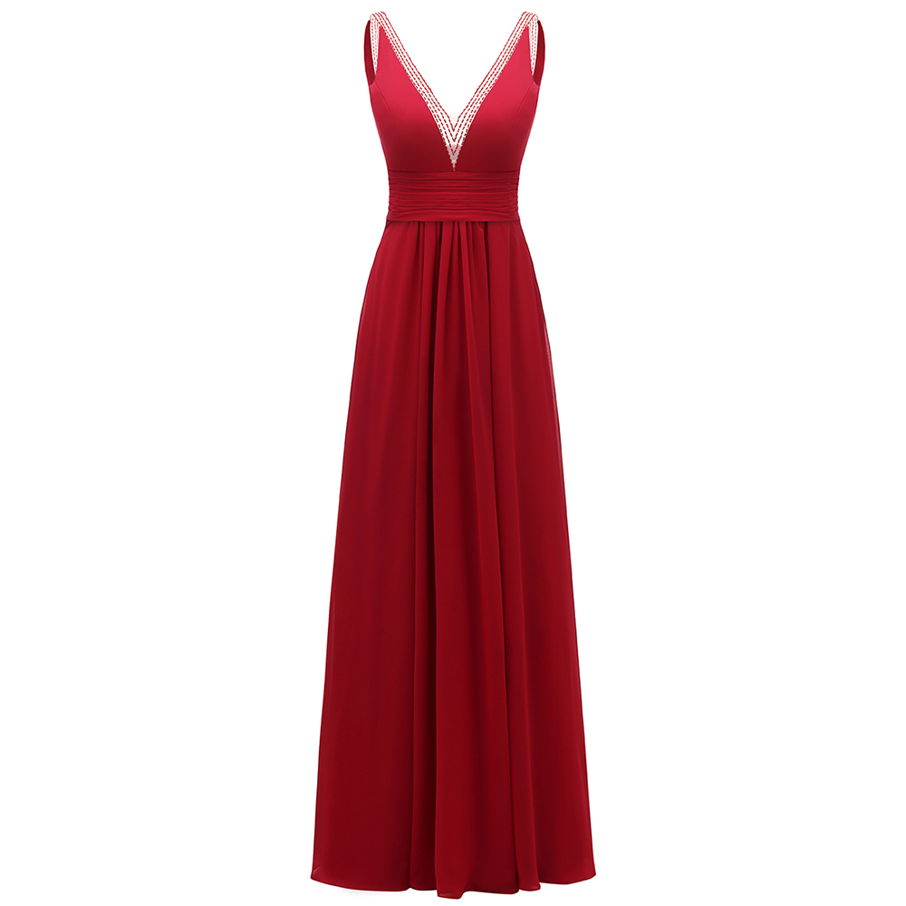 VKbridal Elegant Wedding Party Gowns Deep V-neck Formal Wear for Wedding Guest Hand Beading Chiffon   Bridesmaid     Dresses   Plus Size