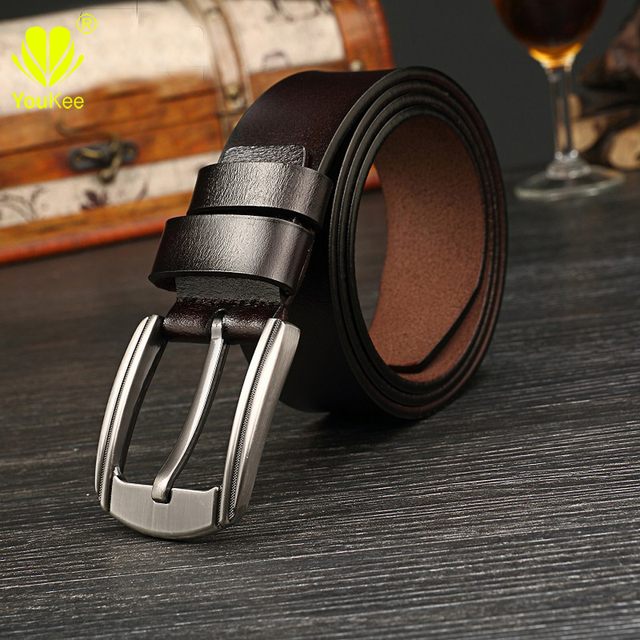 High quality Mens Belts Genuine Leather Blet 100% Cowskin Pin Buckle Fancy Vintage Jeans Ceinture Homme Cowboy Cowgirl GU035