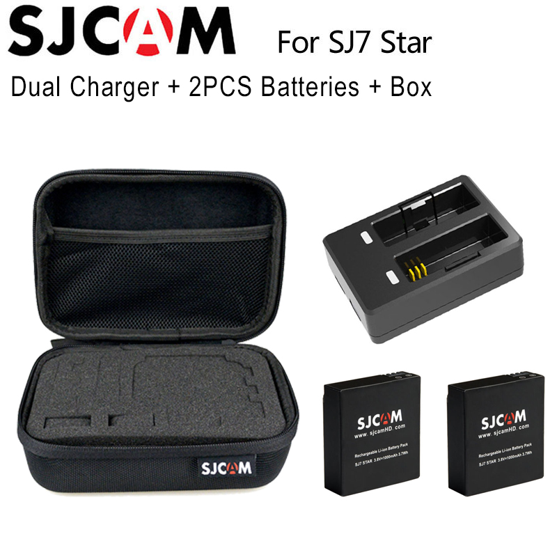 Original 2PCS Battery 1000mAh Rechargeable Li-ion Battery + Dual Charger + SJCAM Medium Size Storage Box for SJ7 Action Camera liitokala 2pcs li ion 18650 3 7v 2600mah batteries rechargeable battery with portable battery box and 2 slots usb smart charger