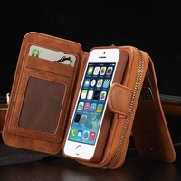 Phone Cases For Iphone 5 Case Luxury Leather Zipper For IPhone5 5S SE 6 6S 6