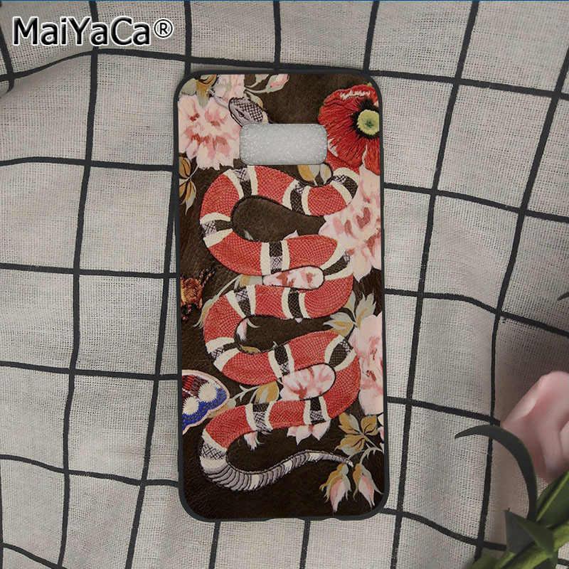MaiYaCa с модным принтом джинсовая одежда с вышитыми цветами; змеиная кожа чехол для телефона для samsung galaxy s9 plus note5 note8 s7 s6 s8 plus чехол