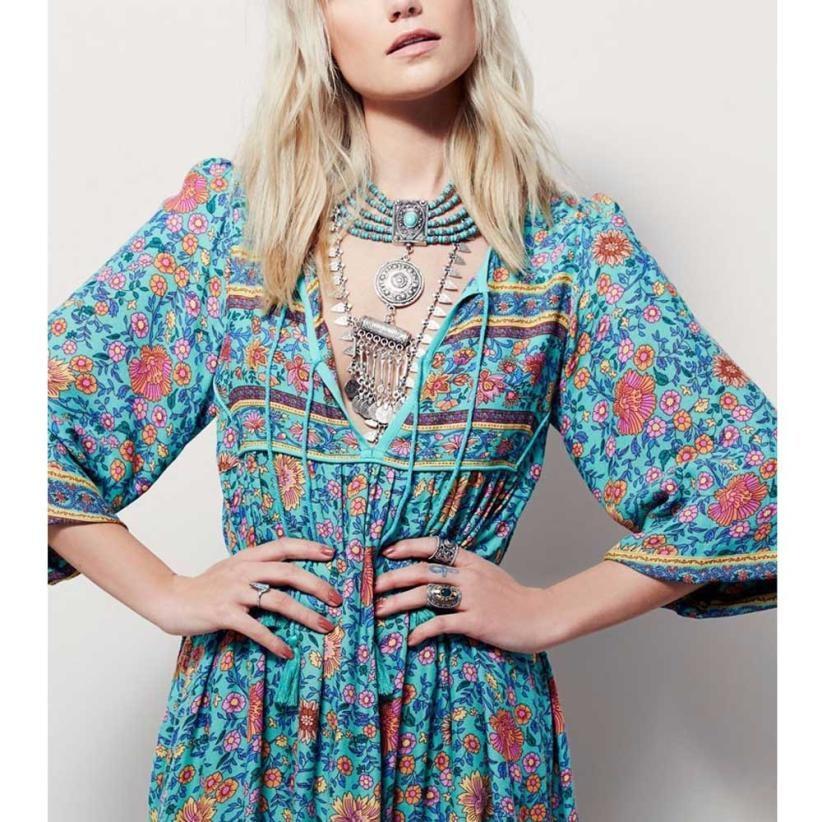 Women Floral Print Dress 2017 Long Sleeve Boho Dress Ladies Loose V Neck Retro Bohemian Dresses vestido #VE