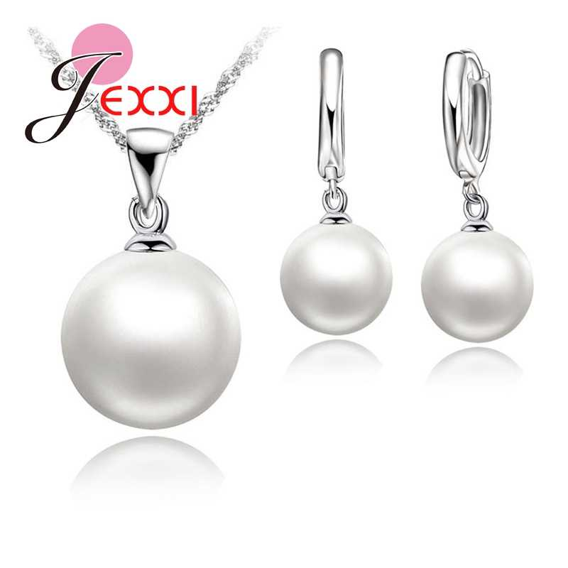 Classic Nice Pearl Jewelry Sets 925 Sterling Silver  Necklace+Pearl Hoop Earrings Wedding Jewelry Sets for Women Girls