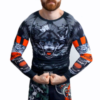 Wolf Wolf Totem Running Fitness Jersey Mma Free Fighting Wear Tights Ufc Fighting Muay Thai Pants Boxing Training Clothing Set