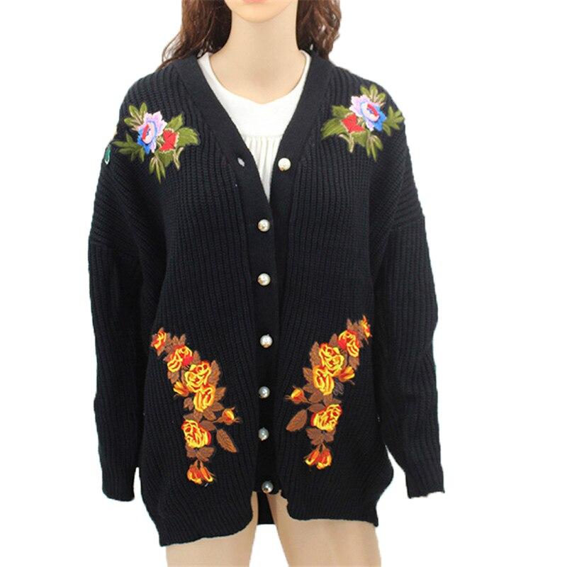 Nice Spring Autumn Embroidery Cardigan Women Coat Jackets Outerwear Cardigan European Style Loose Elegant Vintage Clothing