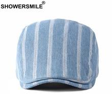 SHOWERSMILE Mens Striped Flat Caps Denim Cotton Beret for Women Light Blue Classic Spring Autumn Ivy Duckbill Cap Unisex