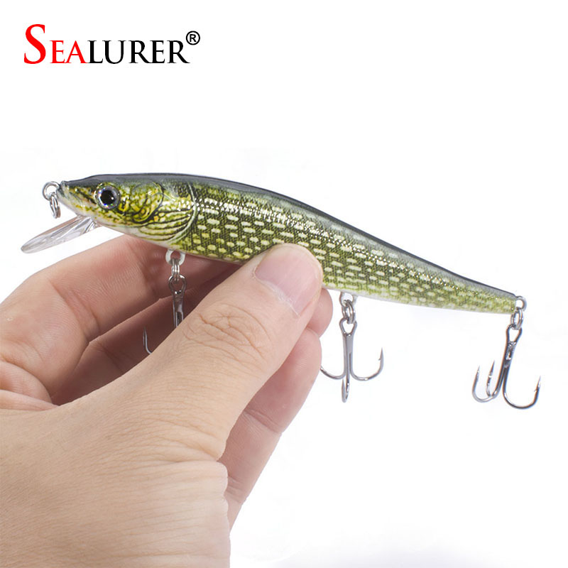 SEALURER 1pcs Boxed Minnow Bait 12cm 13.5g Fishing Lure Float Minnow Wobbler Printed Lure Hard Bait sealurer 5pcs fishing sinking vib lure 11g 7cm vibration vibe rattle hooks baits crankbaits 5 colors free shipping