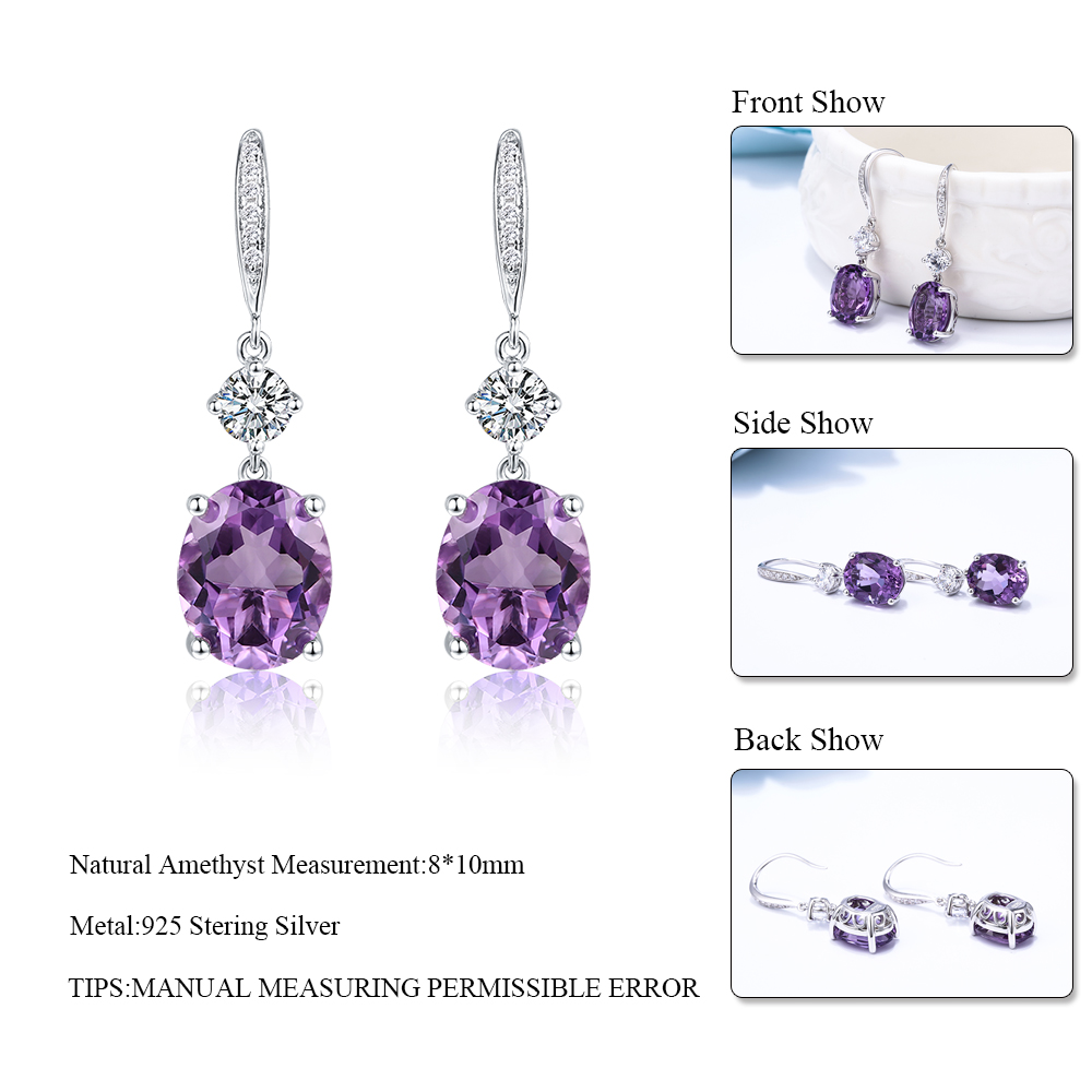 DOUBLE-R 4.95ct Asli Amethyst Alami 925 Sterling Silver Drop Earrings - Perhiasan bagus - Foto 5
