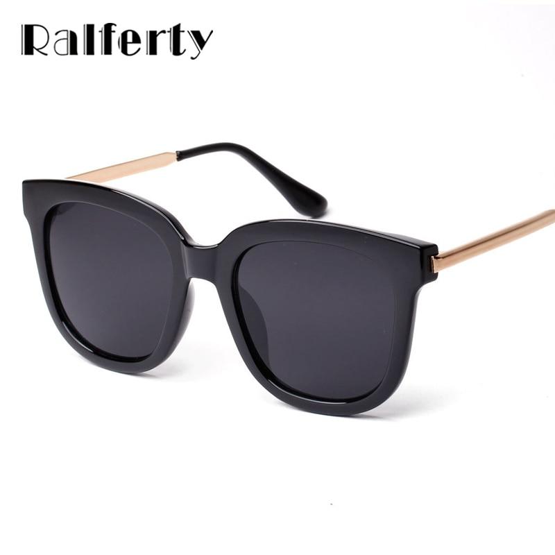 Ralferty Corea Oversized cuadrado gafas de sol mujer hombres marca de lujo gafas de sol Negro Grande espejo sombras lunette femme Oculos 1060