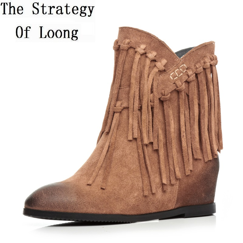 Winter Women Genuine Leather Flock Tassel Height Increase Elevator Round Toe Fashion Warm Ankle Boots Size 34-39 SXQ1012 купить