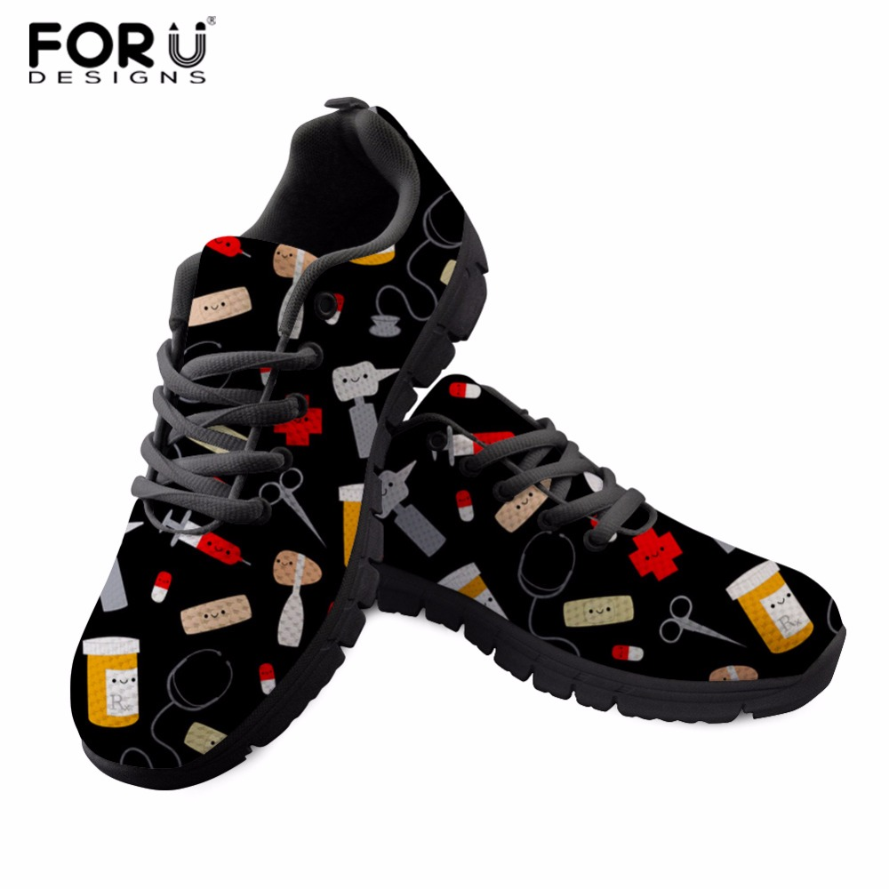 FORUDESIGNS Nurse Women Sneakers Spring Mesh Shoes Female Students Lace up Shoes Students Daily Walking Shoes Custom Shoes forudesigns sneakers geometry dash pattern high top shoes woman classic lace up vulcanize shoes autumn students light mesh flats