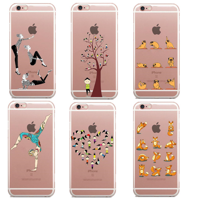 best loved d0d08 2a162 Cartoon sports girl pug yoga Style Cases For Iphone SE 5 5S 6 6S 6S Plus  7Plus Transparent Hard plastic Phone Back Cover Coque