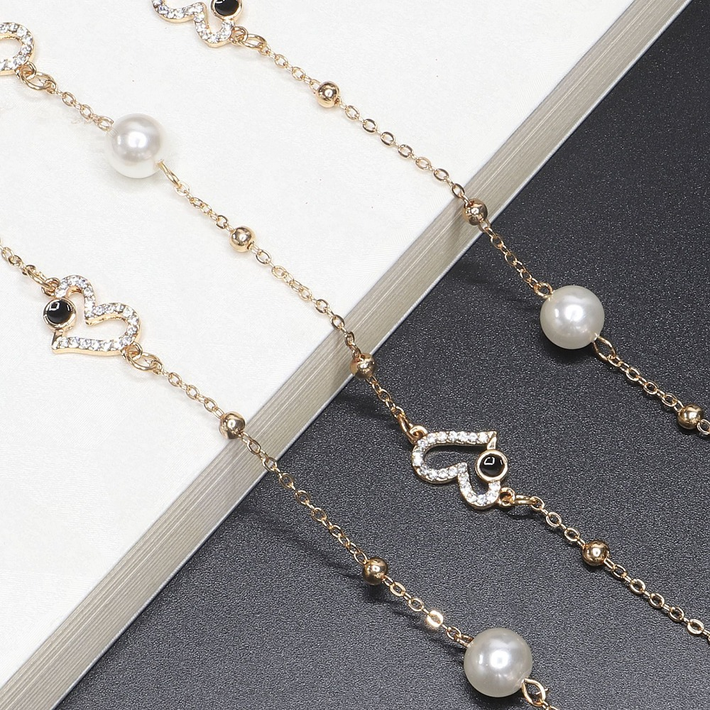 High Quality 70CM Luxurious Heart Shape Sunglasses Lanyard Strap Necklace Eyeglass Handmake Chain Cord For Dinner Party