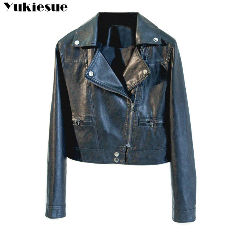 Fashion Brand   Leather   Jackets Women Rivet Zipper Motorcycle Faux Soft   Leather   Coat Female Paragraph Lapel PU Jacket Plus size