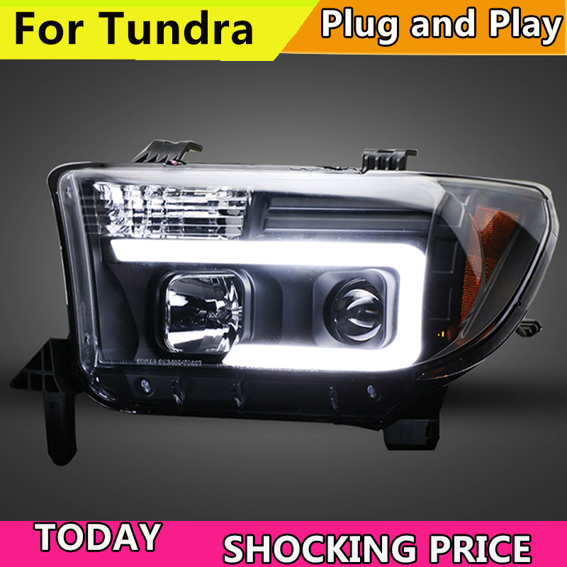 Car Style For Toyota Tundra headlights For Sequoia 2007-2013 YEAR head lamp DRL front Bi-Xenon Lens Double Beam HID KIT auto part style led head lamp for toyota tundra led headlights 09 11 for tundra drl h7 hid bi xenon lens angel eye low beam