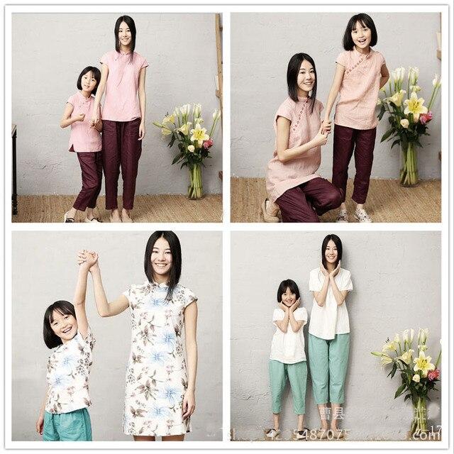 Новое Семейство смотреть 2016 Мать И Дочь Китайский стиль мама и дочь два набора Семьи соответствующие наряды фотография реквизит наборы