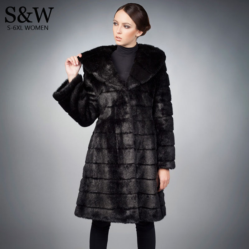 69f437a9152f5 Detail Feedback Questions about 5XL 6XL Plus Size Women Warm Winter Coats  Long Faux Fur Coat Black Synthetic Rabbit Fur Coat Faux Fur Jacket with a  big hood ...