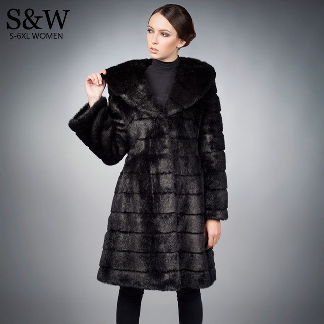 69edfe21fc9 5XL 6XL Plus Size Women Warm Winter Coats Long Faux Fur Coat Black  Synthetic Rabbit Fur Coat Faux Fur Jacket with a big hood